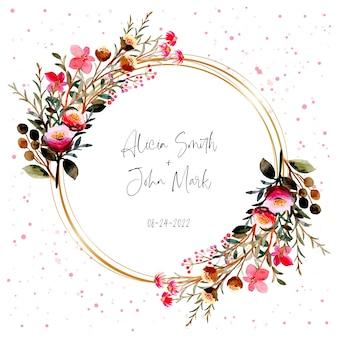 Aquarela de guirlanda floral rosa com moldura dourada