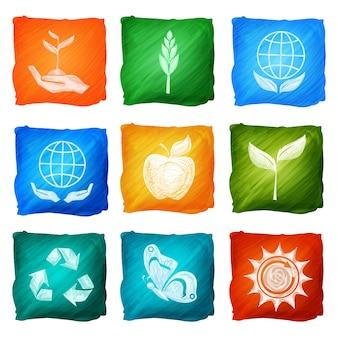 Aquarela de ícones de ecologia