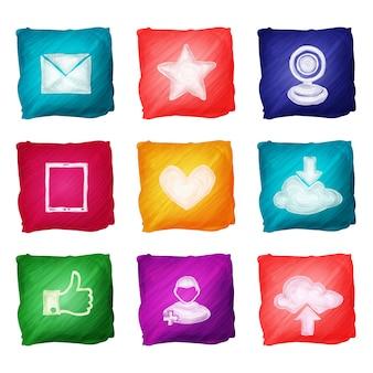 Aquarela de ícones de mídias sociais