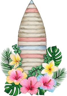 Aquarela de madeira listrada com flores tropicais