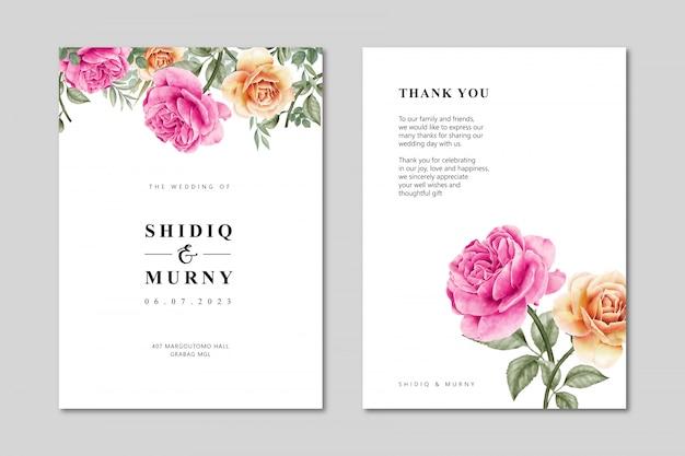 Aquarela de modelo de cartão de casamento com floral selvagem