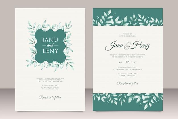 Aquarela de modelo de convite de casamento floral verde