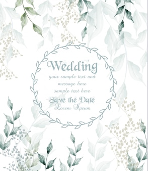 Aquarela de moldura redonda de cartão de casamento