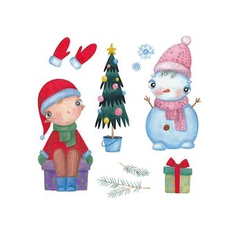 Aquarela de natal com duende boneco de neve e um presente