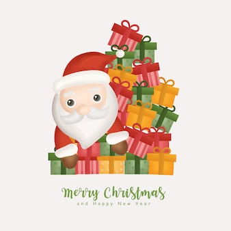 Aquarela de natal com natal fofo papai noel e caixas de presente para cartões, convites, papel, embalagens.