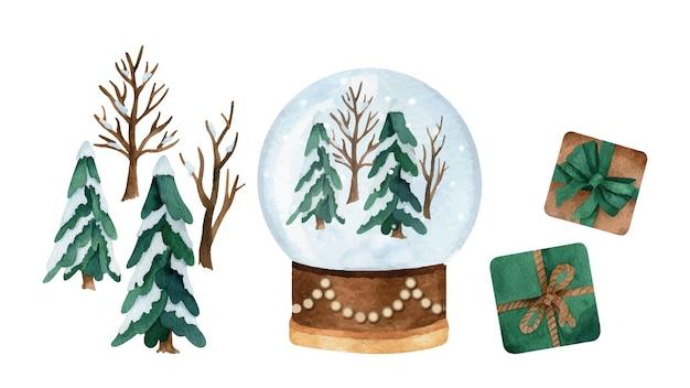 Aquarela de natal com pinheiros, globo de bola de neve e caixas de presentes