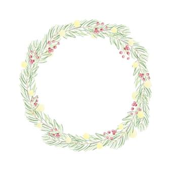 Aquarela de natal folhas verdes com coroa de lâmpada amarela