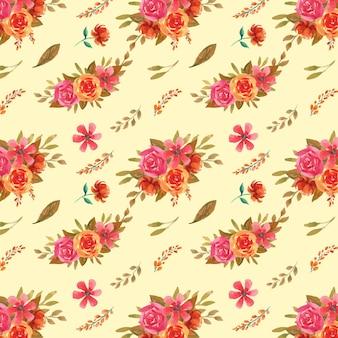 Aquarela de outono sem costura padrão floral com flores rosa e laranja