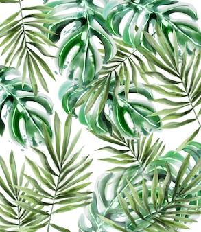 Aquarela de padrão de folhas de palmeira