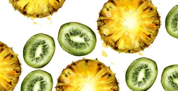 Aquarela de padrão de kiwi e abacaxi