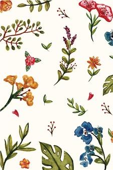 Aquarela de padrão floral