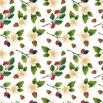 Aquarela de padrão sem emenda de flores e frutos em fundo branco