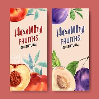 Aquarela de panfleto com conceito de ameixa e ameixas secas para cartão de decoração.