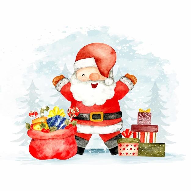 Aquarela de papai noel e presentes de natal