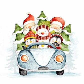 Aquarela de papai noel e um boneco de neve andando em um carro azul com uma árvore de natal