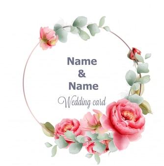 Aquarela de peônia de quadro redondo casamento