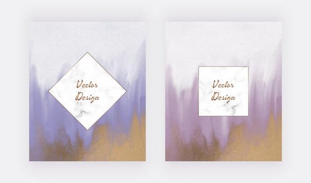 Aquarela de pincelada azul e roxa com textura de glitter dourado e molduras de mármore