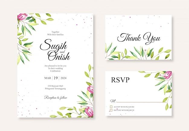 Aquarela de pintura à mão floral para modelo de cartão de convite de casamento bonito