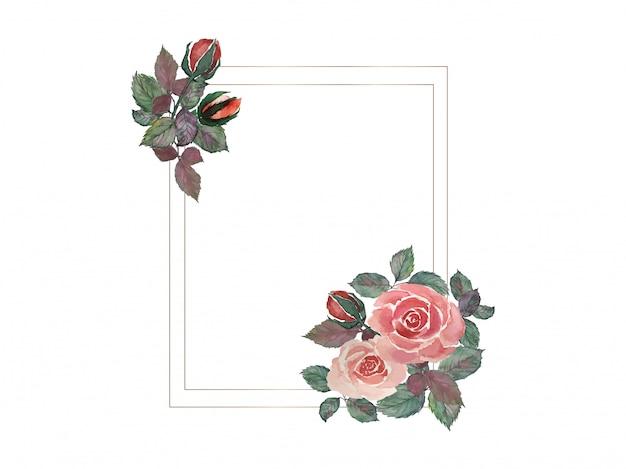 Aquarela de pintura de buquê de rosas vermelhas com ilustração de quadros de fio duplo retângulo dourado