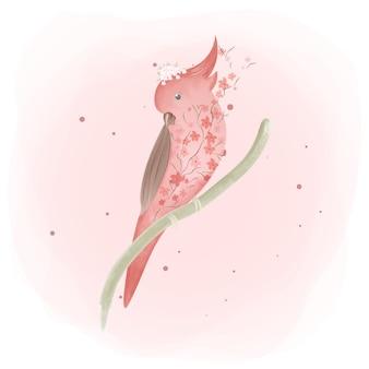 Aquarela de princesa papagaio exótico de flor de cerejeira.
