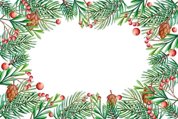 Aquarela de ramos de árvore de natal de fundo