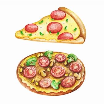 Aquarela de refeição de fast-food em fundo branco.