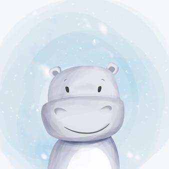Aquarela de retrato de bebê hipopótamo fofo