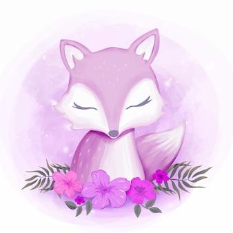 Aquarela de retrato feminino foxy bebê