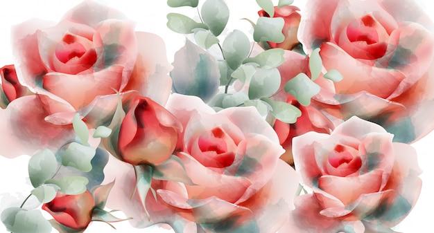 Aquarela de rosas cor de rosa