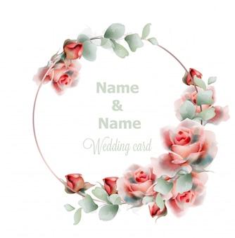 Aquarela de rosas de quadro de casamento