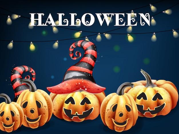 Aquarela de rostos felizes de abóbora de halloween. decorações de chapéu de bruxa abóbora sorridente