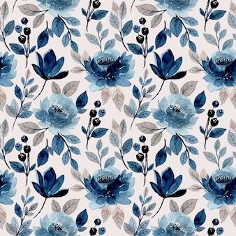 Aquarela de sagacidade padrão floral azul sem emenda