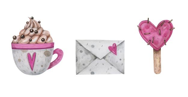 Aquarela de são valentim com envelope