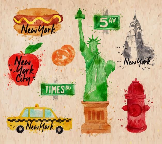 Aquarela de símbolos de nova york