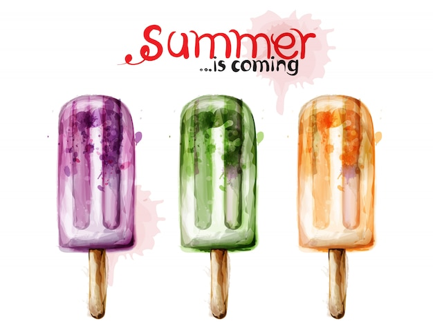 Aquarela de sorvete de verão