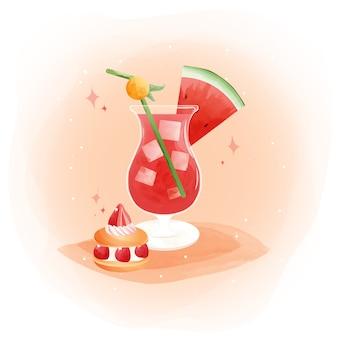 Aquarela de suco de melancia com frutas melancia e macaron de morango.