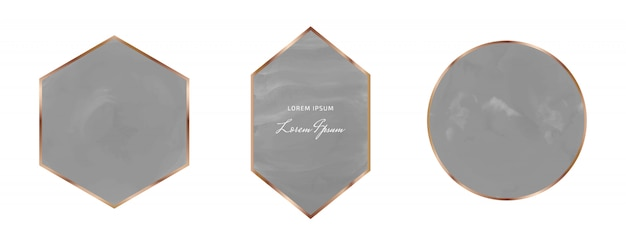 Aquarela de traçado de pincel preto com quadros geométricos de linhas douradas poligonais.