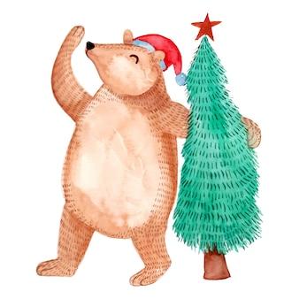 Aquarela de urso fofo com árvore de natal