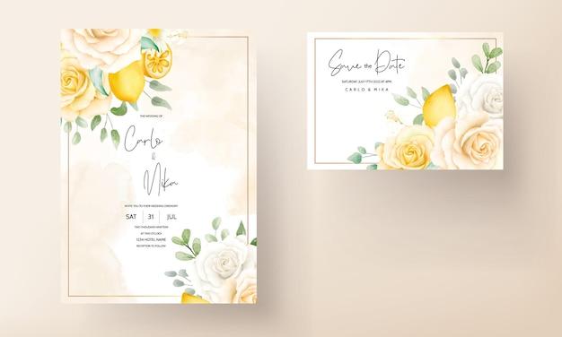 Aquarela de verão floral com limão botânico, cartão de casamento Vetor grátis
