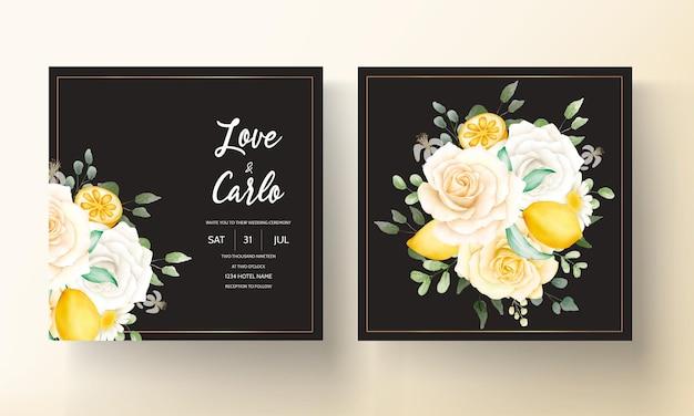 Aquarela de verão floral com limão botânico, cartão de casamento