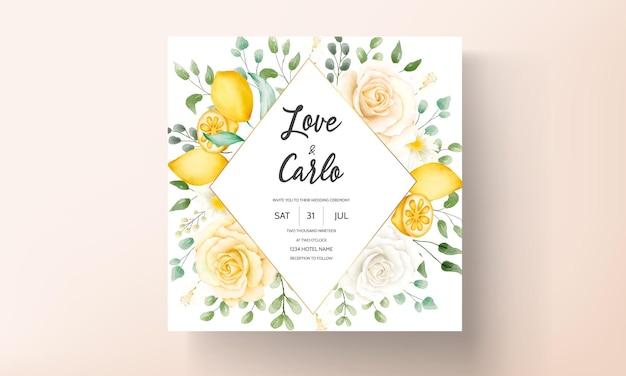 Aquarela de verão floral com limão botânico conjunto de cartões de casamento
