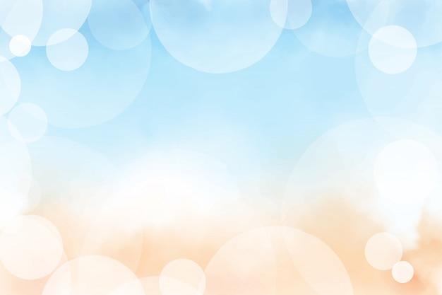 Aquarela de verão linda praia e oceano azul vista superior com pintura digital de fundo de bokeh