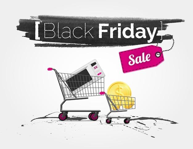 Aquarela de vetor de etiqueta na grande venda de sexta-feira negra com carrinhos de compras.