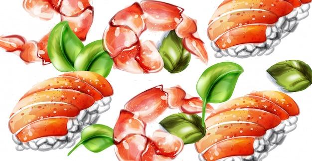 Aquarela de vetor de sushi