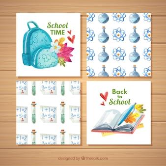 Aquarela de volta à coleção de cartões de escola