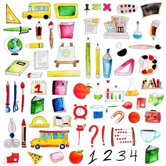 Aquarela de volta à coleção de elementos de escola