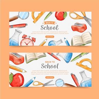 Aquarela de volta ao modelo de banners de escola