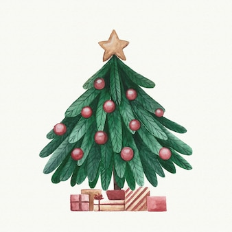 Aquarela decoração de árvore de natal
