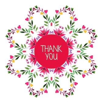 Aquarela decorativa padrão redondo com ornamento floral. cartão de agradecimento