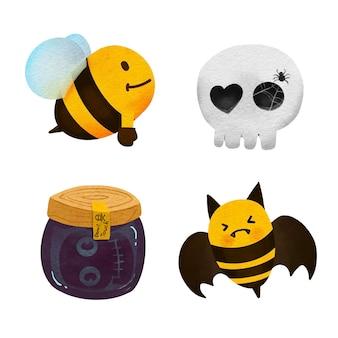 Aquarela definida para abelha desenhada à mão para o vetor de halloween .illustration.